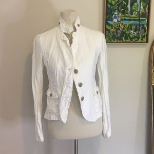 JCrew White Linen Blazer XS